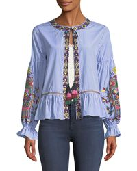 Philosophy - Embroidered Tie-neck Topper Jacket - Lyst