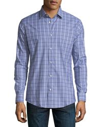 Neiman Marcus | Xtrim-fit Regular-finish Check-print Shirt | Lyst
