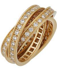 Cartier - Estate 18k Trinity De Pavé Diamond Ring - Lyst