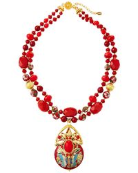 Jose & Maria Barrera - 2-strand Cloisonne Pendant Necklace Red - Lyst