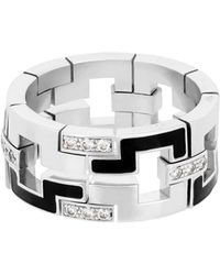 Cartier - Estate 18k White Gold Le Baiser Du Dragon Diamond & Enamel Ring Size 8.75 - Lyst