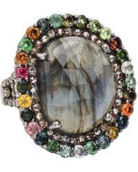 Bavna - Labradorite Tourmaline & Diamond Ring Size 7 - Lyst