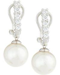 Majorica - White Pearl & Cz Crystal Drop Earrings - Lyst