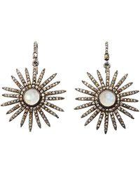 Bavna - Moonstone & Diamond Sunray Drop Earrings - Lyst