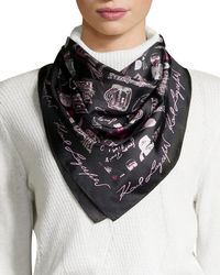 Karl Lagerfeld - Square Doodle-print Silk Scarf - Lyst