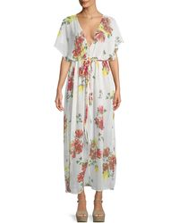 Philosophy - Sheer Floral Kimono-sleeve Belted Coverup Dress - Lyst