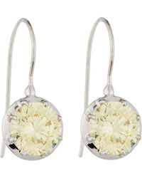 Fantasia by Deserio - Cz Round-cut Canary Dangle & Drop Earrings - Lyst
