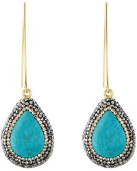 Native Gem - Ilume Simulated Turquoise & Crystal V-hook Drop Earrings - Lyst