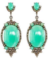 Bavna - Silver Oval Drop Earrings With Chrysoprase & Diamonds - Lyst
