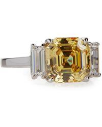 Fantasia by Deserio | Asscher-cut Canary Crystal Cocktail Ring | Lyst