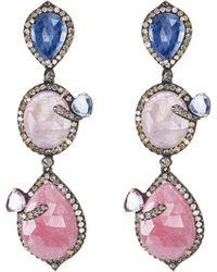 Bavna - Triple Sapphire Drop Earrings - Lyst