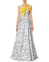Carolina Herrera - Floral-bud Print Sleeveless Cotton-sateen Evening Gown - Lyst