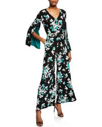 Neiman Marcus - Floral Self-tie Wide-leg Jumpsuit - Lyst