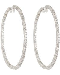 Penny Preville - 18k White Gold & Diamond Engraved Xl Hoop Earrings - Lyst