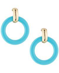 Kenneth Jay Lane - Round Doorknocker Drop Earrings Blue - Lyst