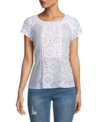 Nanette Nanette Lepore - Short-sleeve Colorblock Lace Blouse - Lyst