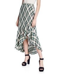 Max Studio - Plaid Linen Maxi Skirt - Lyst