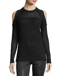 BCBGeneration - Mesh-knit Cold-shoulder Sweater - Lyst