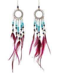 Nakamol - Long Beaded Hoop Drop Feather Earrings - Lyst