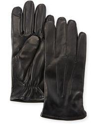 Neiman Marcus - Three-point-stitch Leather Tech Gloves - Lyst