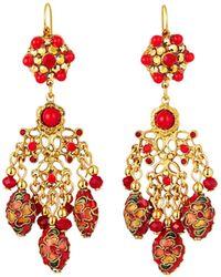 Jose & Maria Barrera - Cloisonne Chandelier Earrings Red - Lyst