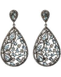 Bavna - Silver Pear Drop Earrings With Champagne Diamonds & Aquamarine - Lyst