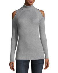 Carmen By Carmen Marc Valvo - Cold-shoulder Turtleneck Sweater - Lyst