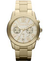 MICHAEL Michael Kors - Mid-size Golden Stainless Steel Mercer Chronograph Watch - Lyst