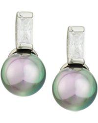 Majorica 8mm Pearl & Crystal Drop Earrings Grey