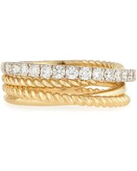 Neiman Marcus   14k Two-tone Twisted Diamond Band Ring   Lyst