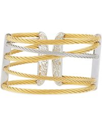 Alor - Overlapping Steel Cable Cuff Gray/gold - Lyst