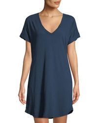 Allen Allen - Cotton V-neck T-body Dress W/ Pockets - Lyst