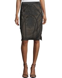 Goldie London | Tribe Embroidered-mesh Pencil Skirt | Lyst