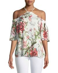 Dex - Halter-neck Cold-shoulder Floral Blouse - Lyst