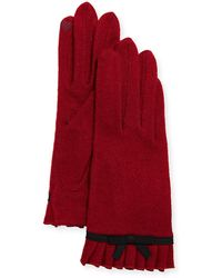 Portolano - Wool Bow Ruffle Tech Gloves - Lyst
