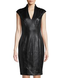 Alexia Admor - Faux-leather Military Neck Dress - Lyst