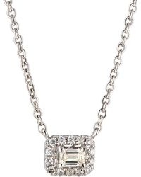 Neiman Marcus - 14k White Gold Diamond Rectangular Solitaire Pendant Necklace 0.3tcw - Lyst