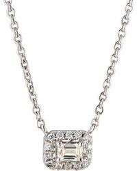 Neiman Marcus - 14k White Gold Diamond Rectangular Solitaire Pendant Necklace - Lyst