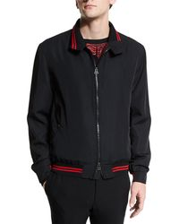 Lanvin - Zip-up Bomber Jacket With Striped Trim Black - Lyst