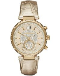 MICHAEL Michael Kors - Sawyer 39mm Metallic Leather Strap Watch - Lyst