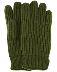 "Neiman Marcus - 11"" Suede-piped Knit Wool Gloves - Lyst"