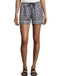 Moncler - Floral Silk Satin Bermuda Shorts - Lyst
