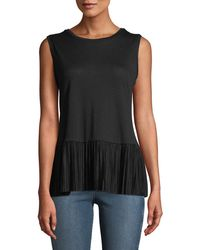 Carmen By Carmen Marc Valvo - Pleated Peplum Sleeveless Top - Lyst