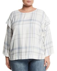 Vince Camuto Signature - Ruffle-trimmed Bell-sleeve Plaid Blouse Plus Size - Lyst