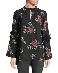 Neiman Marcus - Ruffle Crewneck Blouse With Bell Sleeves - Lyst