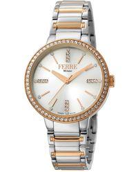 Ferrè Milano - Women's 34mm Stainless Steel 3-hand Glitz Watch With Bracelet Steel/rose - Lyst