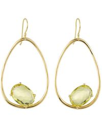 Ippolita - 18k Gold Rock Candy Tipped Oval Wire Earrings In Green-gold Citrine - Lyst