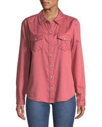 3b22456a093 Lyst - Michael Kors Long-sleeve Zip-front Work Shirt in Blue