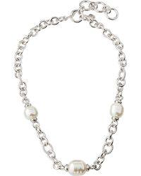 Majorica - Baroque Pearl & Chain Necklace - Lyst