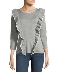 Carmen By Carmen Marc Valvo - Contrast Ruffle-knit Sweater - Lyst